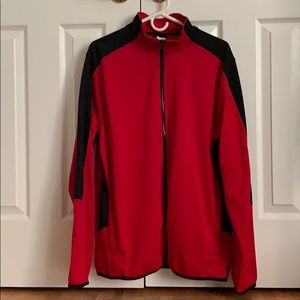 Size L Starter Red and Black Zip Up Jacket